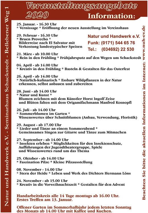 Veranstaltungen Hatur und Handwerk e.V. 2020